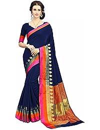 Soru Fashion Striped Kanjivaram Art Silk, Banarasi Silk, Jacquard Saree (611_Dark Blue)