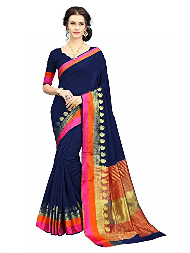 Soru Fashion Striped Kanjivaram Art Silk, Banarasi Silk, Jacquard Saree (611_Dark Blue)