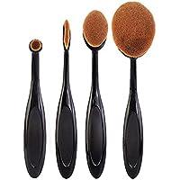 Hosaire 4Pcs Maquillaje Profesional de los Cepillos kit de Sombra de ojos Cepillo de Base Cejas Cepillos del Maquillaje Forma del Cepillo de Dientes (Coffee)