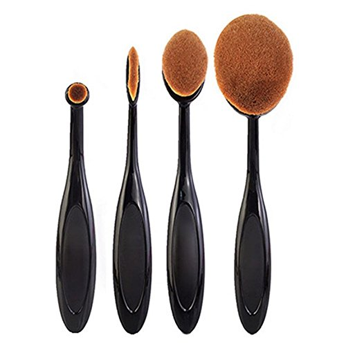 JUNGEN 4Pcs/ Set Pinceau de Maquillage Cosmétique Brosses Poudre Pinceau Toothbrush Shape Kits pinceaux Maquillage Fond de Teint Pinceaux Maquillage Professionnel Makeup Brushes
