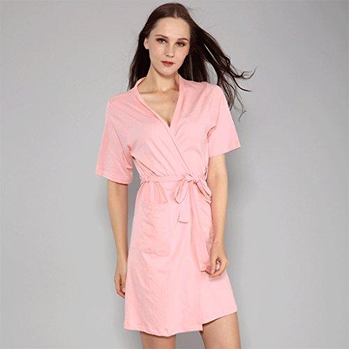 ZLR Summer Season Pigiama in puro cotone Donna Manica corta Camicia per il sonno Camicia da notte Sexy per le signore Abbigliamento da casa ( Colore : A , dimensioni : L. ) B