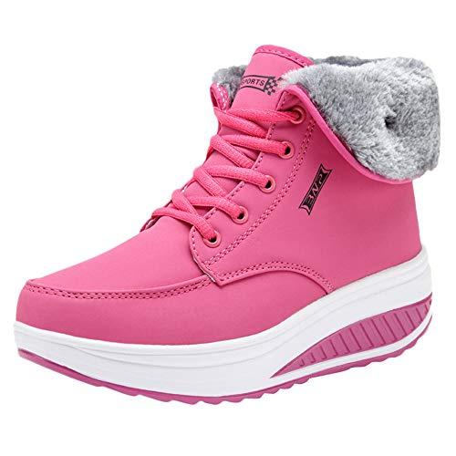 feuerwehrstiefel pink UFACE Frauen Freizeit Plus Velvet Bottom Sportschuh Wedges Thick Bottom Damen Sneakers