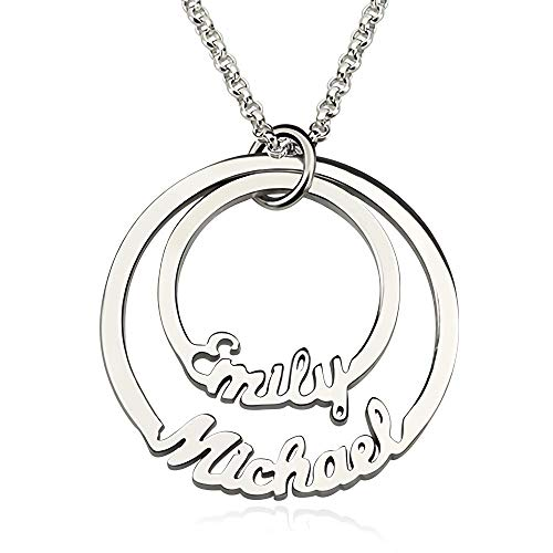JF Personalized Necklace with Disc Name, 2 Rings, Engraved Necklace and Pendant jewelry for Girls