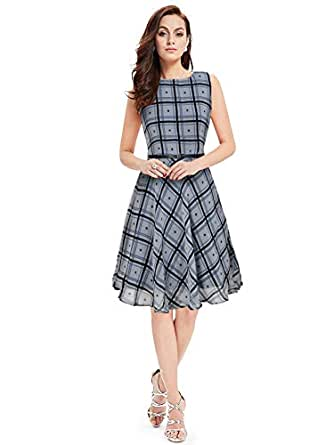 PURVAJA Women's Georgette Skater Dress, Small (Grey)