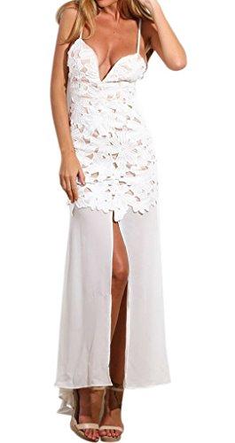 Bigood Sexy Robe Longue Femme Robes Soirée Dentelle Dos Nu Col V Fendue Mariage Blanc