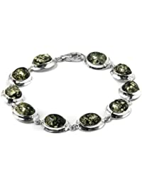 Green Amber Sterling Silver Simple Oval Bracelet 19cm