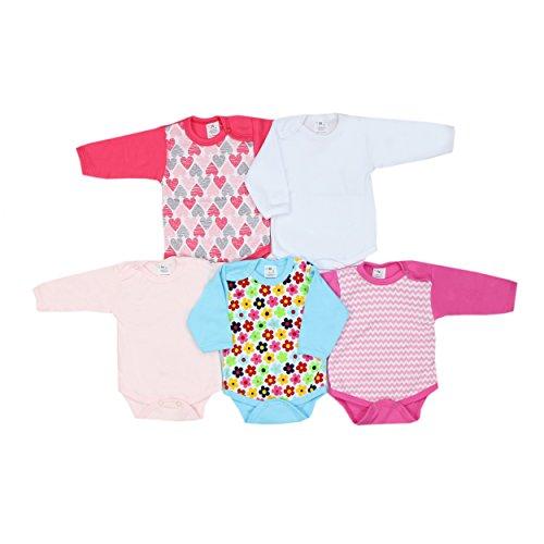 TupTam Unisex Baby Langarmbody Baumwolle Gemustert 5er Set, Farbe: Mädchen, Größe: 68
