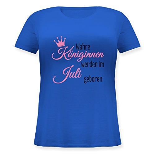 Shirtracer Geburtstag - Wahre Königinnen Werden IM Juli Geboren - Lockeres Damen-Shirt in Großen Größen mit Rundhalsausschnitt Blau