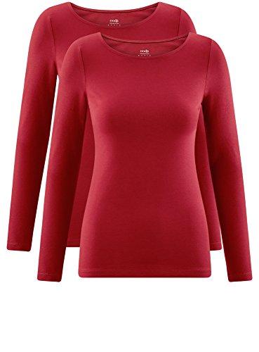 oodji Collection Damen Langarmshirt (2er-Pack) Rot (4901N)