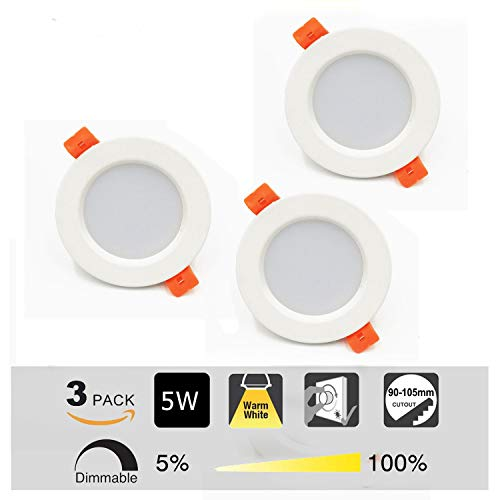 Foco LED Empotrable Redondo,3 x 5W,3000K Blanco Cálido, Regulable,450 Lumens,IP44,Foco LED para...