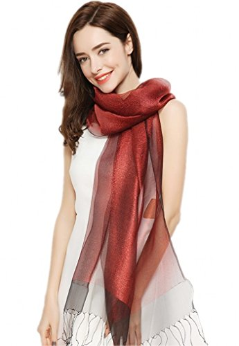 Prettystern - decorativo strati leggermente seta e materiale metallico luccicante lunga sciarpa - 7. borgogna