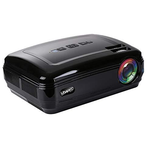 FSM88 WiFi-Projektor, tragbarer Multimedia-Filmprojektor Kompatible 1080P-Heimkino-Unterstützungslautsprecher Kompatibel mit Tablet/TV-Stick/DVD-Player,Black - Dvd-player Smart-tv Mit Eingebaute