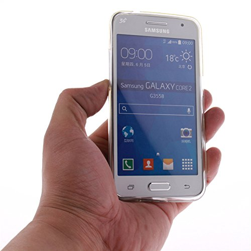Samsung Galaxy Core 2 DuoS hülle MCHSHOP Ultra Slim Skin Gel TPU hülle weiche Silicone Silikon Schutzhülle Case für Samsung Galaxy Core 2 DuoS G355H - 1 Kostenlose Stylus (bunte ständigen eule mit grü Briefpapier und Umschläge Stempel (Letter Paper and En
