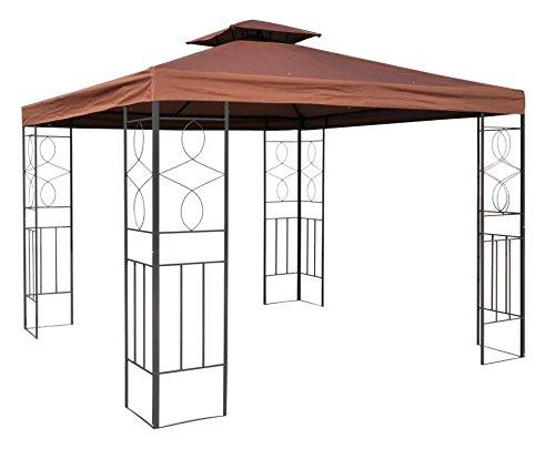 WASSERDICHTER Pavillon 3x3m Cappuccino ROMANTIKA Metall inkl. Dach Festzelt wasserfest Partyzelt