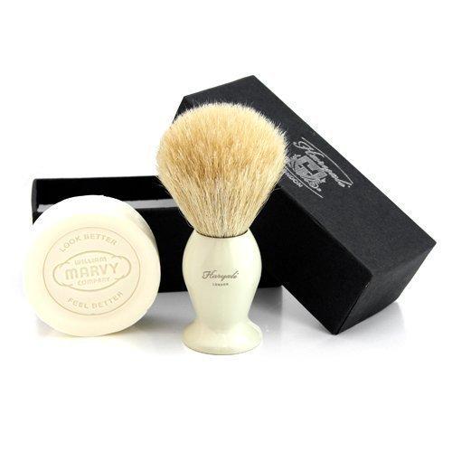 Haryali London main monté Sophist Collection élégant gestaltete White poils de blaireau Blaireau & Savon à raser.