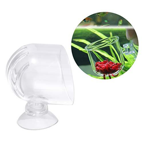 POPETPOP 4 Stück Acryl Futtertasse Fischfutteranlage Glas Tasse roter Wurmkegel Fütterung lebende Gefrorene Sole Garnelen Fischfutter für Aquarien mit Loch -
