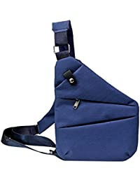 Rrimin Anti-Theft Multifunction Digital Men Crossbody Chest Bag(Blue Left Chest)