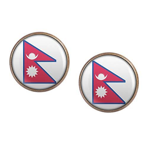Mylery Ohrstecker Paar mit Motiv Nepal Kathmandu Flagge bronze 16mm