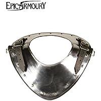 Anillo Cuello Warrior de placa de acero para el hombro LARP Medieval Combate de exhibición Vikingo, distintos tamaños, plata, large
