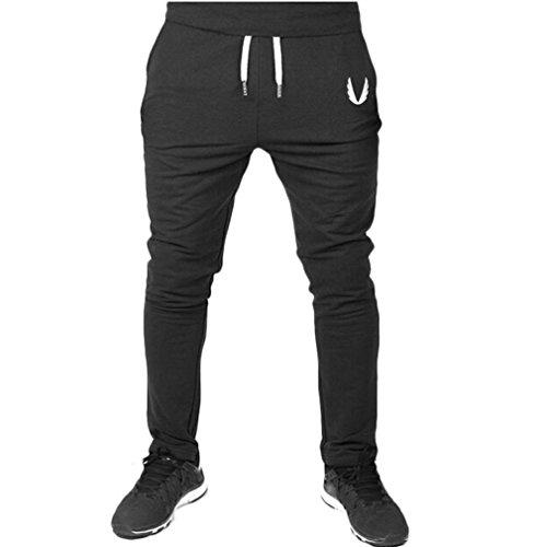 ❉Homme Pantalons De Sport Pantalons De Jogging Pantalons De Yoga LeggingSport Leggings De Compression Pantalons De Survêtement Musculation Élastique Fitness Entraînement GongzhuMM (SEXY NOIR, M)
