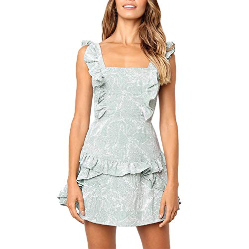 DELI Frauen Gekräuselten Kleid Square Neck Sleeveless Summer Print Kleider Volants Elegante Rückenfreie Bogen Kurzes Kleid -