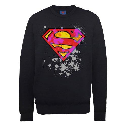 DC Universe Herren Sweatshirt Dc0000976 DC Comics Official Superman  Splatter Logo Schwarz - Schwarz