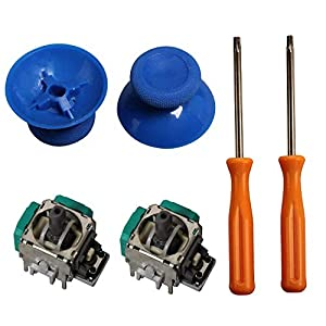 eJiasu 2 Piece 3D Joystick Wireless Controller Rocker+ T8/T10 Screwdrivers Tool+ 2 Pieces Thumbsticks Replacement Parts for Xbox One Controller