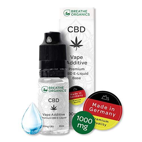 Premium CBD Liquid Base von Breathe Organics® | Liquid Base für E-Zigaretten 1000 mg CBD aus Deutschland | 1000 mg Cannabidiol | Menge 10 ml | 100% PG | nikotinfrei | Made in Germany