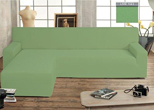 Copridivano Salvadivano Genius Con Penisola Chaise Longue Modello Swing Verde Lime Sinistra Lime