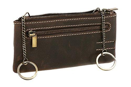LEAS Pochette pour clés très grande taille, cuir véritable, marron Vintage-Collection''