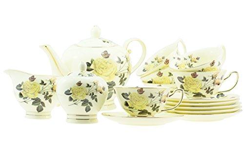 15Piece-porcellana giallo rosa con bordo oro giallo Tone Tea/Coffee Set per 6persone