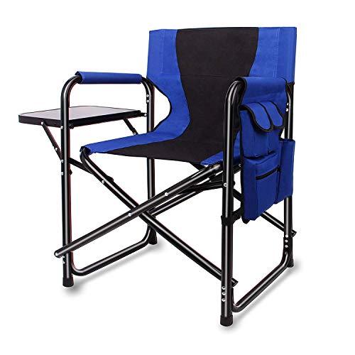 Campingstuhl Klappbar Regiestuhl Schminkstuhl mit Seitentisch und Seitentasche,Leichte Aluminiumrahmen Atmungsaktive Oxford Stoff Outdoor Lawn Angeln Tragbaren stühle,bis zu 300LBS belastbar(Blue)