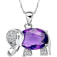 AnaZoz Joyería de Moda Chapado en Plata Colgante Collar de Elefante Rojo Azul Púrpura
