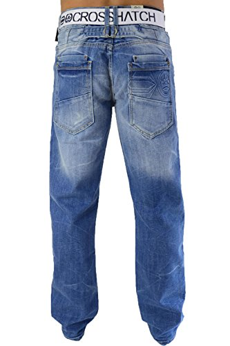 CrossHatch Herren Jeans Baltman Dw Belted Jean Light Wash
