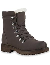 Stiefelparadies Damen Stiefeletten Worker Boots Übergrößen Warm Gefüttert  Flandell 7d6cf3f150