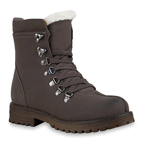 Worker Boots Damen Kunstfell Stiefeletten Bequeme Warm Gefüttert, Schwarz, 38