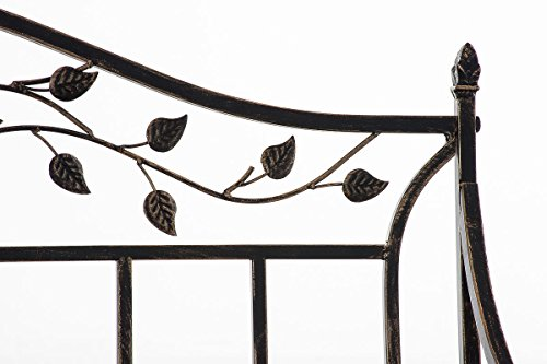 CLP Gartenbank ABIONA im Landhausstil, Eisen lackiert (Metall) ca 110 x 50 cm Bronze - 5