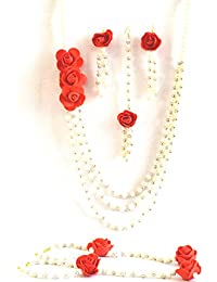 Floret Jewellery Red Rose Multistrand Flower Jewellery Set With Earrings, Maang Tika & Bracelets (6 Items) For...