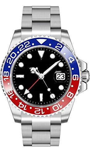 PARNIS 2034/9105 RED & BLUE GMT sportliche 40mm Herren-Automatikuhr GMT-Uhrwerk MZ2814 Saphirglas 316L Edelstahl-Gehäuse und Armband 5 Bar wasserdicht