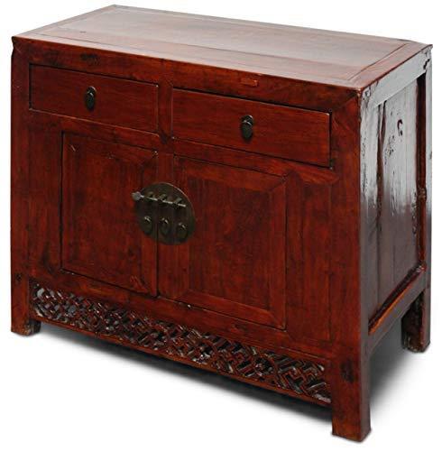 Asien lifestyle - cassettiera asiatica in legno di olmo, 95 cm, colore marrone