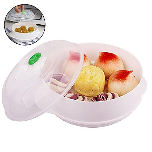 Pingenaneer Micro-Ondes à Vapeur Plastique pour la Nourriture, les Légumes, le Riz, la Cuisson de Pâtes et Chauffée avec le Couvercle et la Poignée