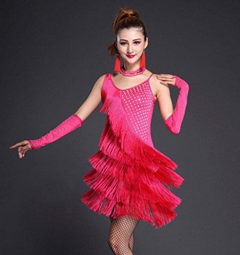 Wgwioo High-End-Strass Fransen Latin Dance Kleid . Rose Red . (High End Kostüme Lyrischer Tanz)