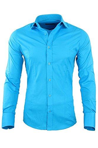 Redbridge by CIPO & BAXX Slim Fit Hemd Polo Shirt Kentkragen Polo R-2111 Verschiedene Farben Türkis