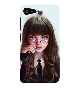 FUSON Silly Girl With Glasses 3D Hard Polycarbonate Designer Back Case Cover for Lenovo ZUK Z2 :: Lenovo Zuk Z2 Plus