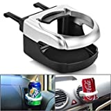 Black Sliver Clip-on Car Truck A/C Mount Cup Holder Drink Water Coffee Bottle Can