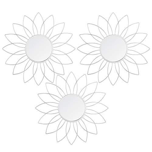 AC-Déco–Juego de 3Espejos en Forma de Flor–D 25cm–Metal–Plateado