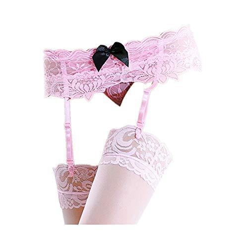 FORH-Schuhwerk FROH Damen Sexy Strapsstrümpfe Spitzen Oberschenkel Hohe Strümpfe Erotic Strumpfhalter Strumpfgürtel Clubwer Set Strapsgürtel mit Strumpfhaltern (Rosa)