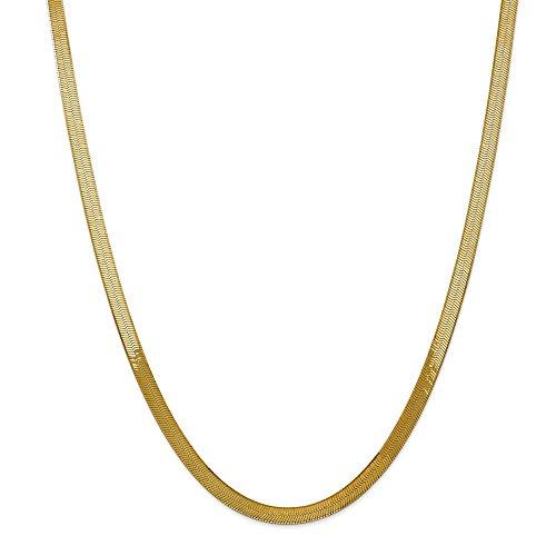 Diamond2deal Halskette mit Fischgräten-Anhänger 14 Karat Gelbgold 5 mm 46 cm
