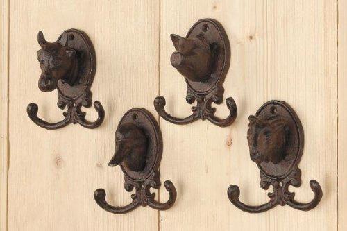 Garderobenhaken Haken 4er Set Tiere Gusseisen braun Landhaus- Stil