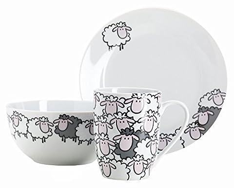 Domestic 926518 Black Sheep Set Petit-Déjeuner pour Enfants 3 Pièces Porcelaine Blanc